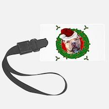 Christmas Pitbull Dog Luggage Tag
