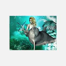 Beautiful mermaid with cute dolphin 5'x7'Area Rug