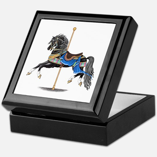 Black Carousel Horse Keepsake Box