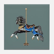 Black Carousel Horse Tile Coaster