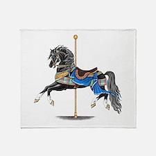 Black Carousel Horse Throw Blanket