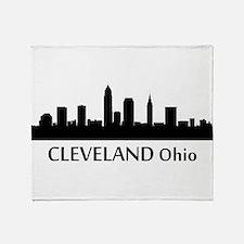 Cleveland Cityscape Skyline Throw Blanket