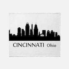 Cincinnati Cityscape Skyline Throw Blanket