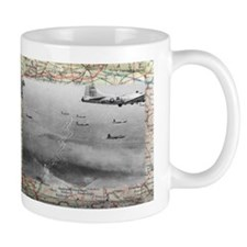 B17 Formation Over Ww2 Map Mugs