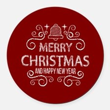 Red Merry Christmas Holiday and h Round Car Magnet