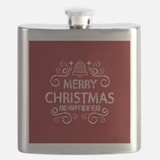Red Merry Christmas Holiday and happy New Ye Flask