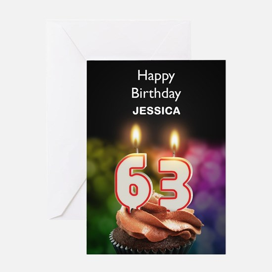 63rd Birthday, Add A Name Cupcake Greeting Cards