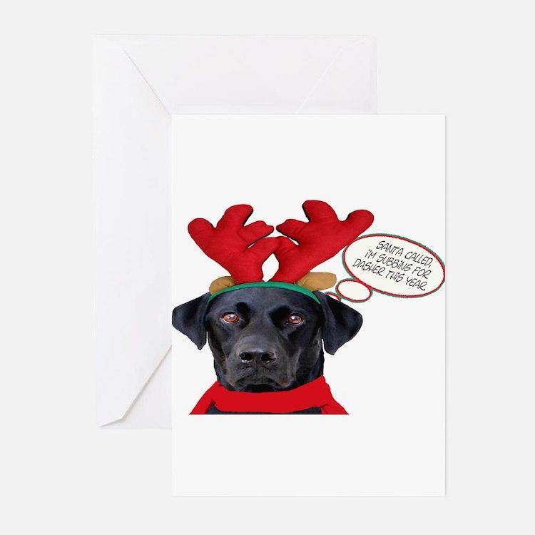 Cute Black lab reindeer Greeting Cards (Pk of 20)