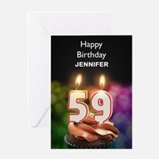 59th Birthday, Add A Name Cupcake Greeting Cards