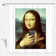 Mona lisa shower curtains mona lisa fabric shower for Mona lisa shower curtain