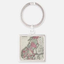 Cute Swedish map Square Keychain