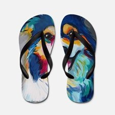 Cute Border collie Flip Flops