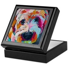 Cute Wheaten terrier art Keepsake Box