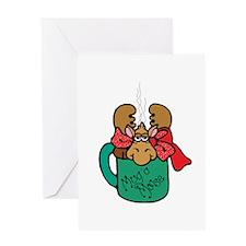 Cute Moose in a Mug Greeting Card