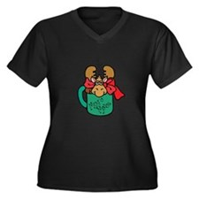 Cute Moose in a Mug Women's Plus Size V-Neck Dark