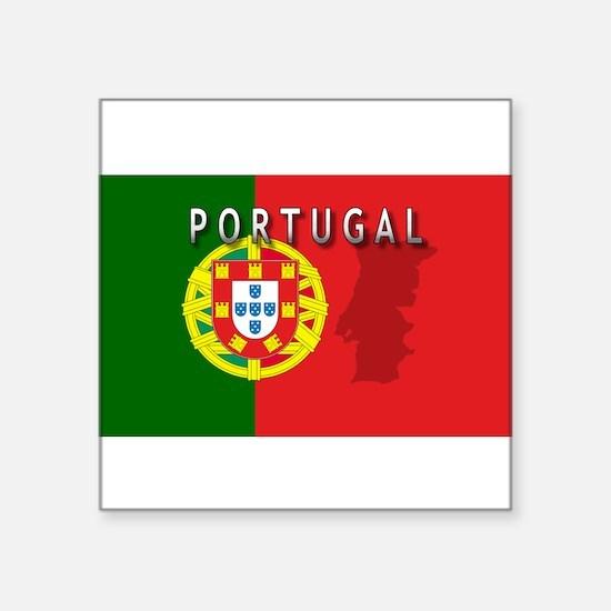 "Cute Portugal flag Square Sticker 3"" x 3"""