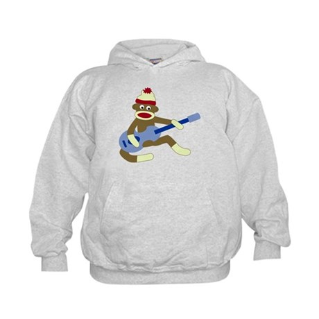 Sock Monkey Blue Guitar Kids Hooded Sweatshirt