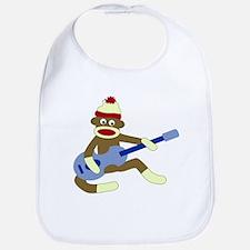 Sock Monkey Blue Guitar Baby Bib