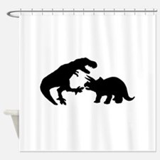 Tyrannosaur and Triceratops b Shower Curtain