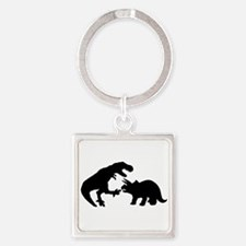 Tyrannosaur and Triceratops b Square Keychain