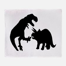 Tyrannosaur and Triceratops b Throw Blanket