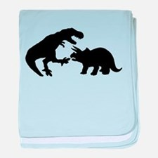 Tyrannosaur and Triceratops b baby blanket