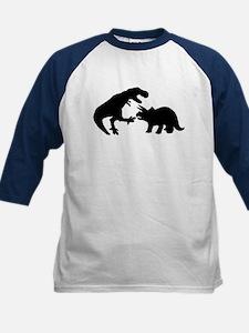 Tyrannosaur and Triceratops b Kids Baseball Jersey