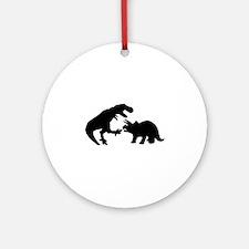 Tyrannosaur and Triceratops b Round Ornament