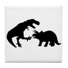 Tyrannosaur and Triceratops b Tile Coaster