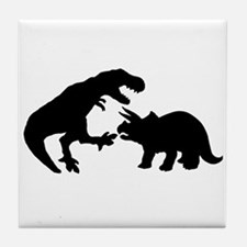 Tyrannosaur and Triceratops b Tile Coaster