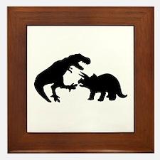 Tyrannosaur and Triceratops b Framed Tile