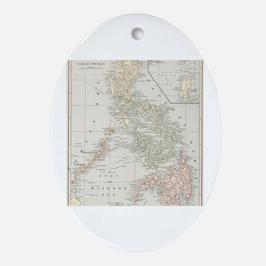 Cool Cartography Oval Ornament