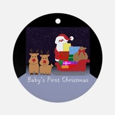 Baby's First Christmas Santa Round Ornament