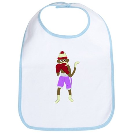 Sock Monkey Boxing Gloves Baby Bib