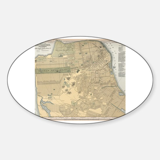 Cool San francisco map Sticker (Oval)
