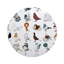 36 Pigeon Breeds Round Ornament