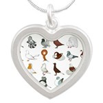 36 Pigeon Breeds Silver Heart Necklace