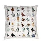 36 Pigeon Breeds Everyday Pillow