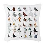 36 Pigeon Breeds Woven Throw Pillow