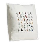 36 Pigeon Breeds Burlap Throw Pillow