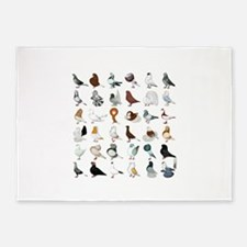 36 Pigeon Breeds 5'x7'Area Rug