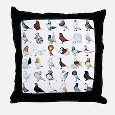 36 Pigeon Breeds Throw Pillow