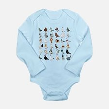 36 Pigeon Breeds Long Sleeve Infant Body Suit