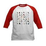 36 Pigeon Breeds Kids Baseball Jersey