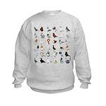 36 Pigeon Breeds Kids Sweatshirt