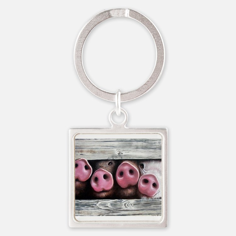 Cute Piglets Square Keychain