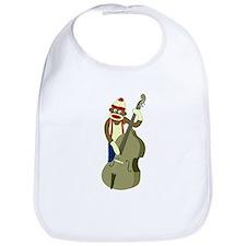 Sock Monkey Upright Bass Player Baby Bib