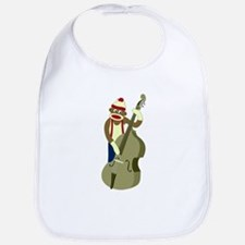 Sock Monkey Upright Bass Player Baby Bib