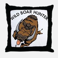 Wild Boar Hunter Throw Pillow