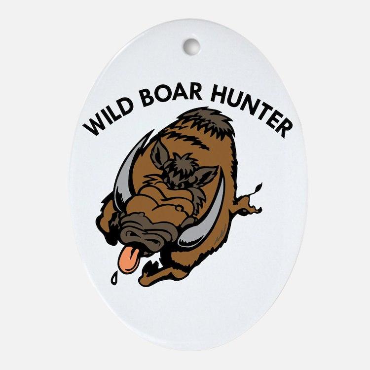 Wild Boar Hunter Oval Ornament